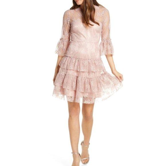 Eliza J | Pink Ruffled Lace 3/4 Sleeve Dress